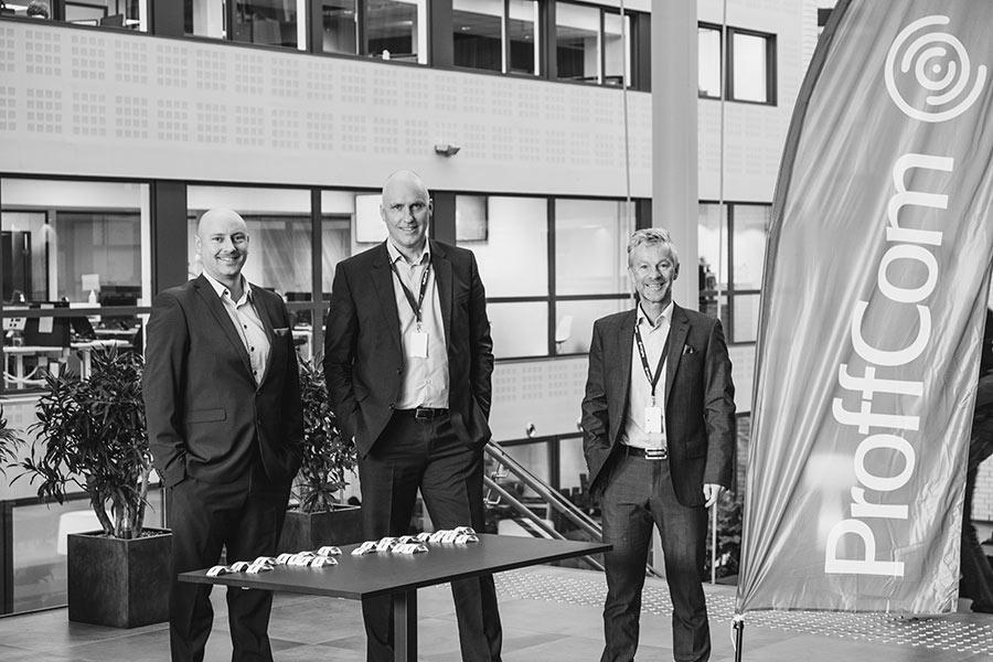 Tore Tronerud, John-Arne Martinsen og Robert Gati var med på å arrangere frokostmøte hos ProffCom