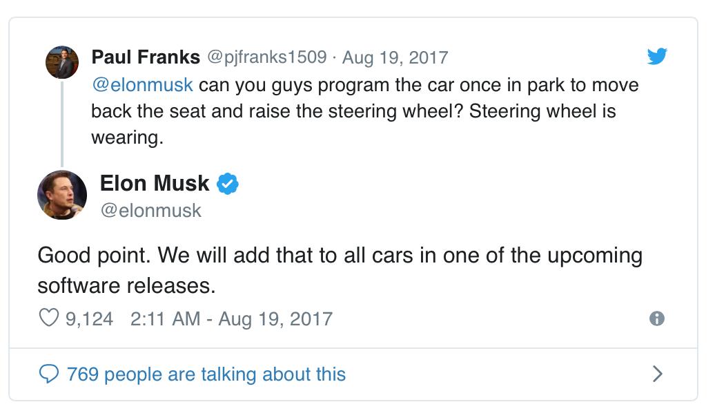 Elon Musk yter personlig kundeservice på twitter