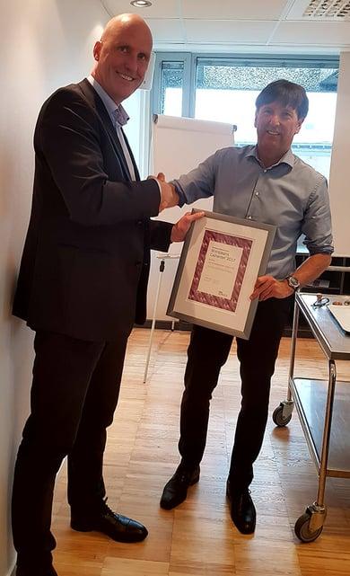 John-Arne Martinsen sammen med Stein Johnsen i Virke etter utdelingen av virkes pris
